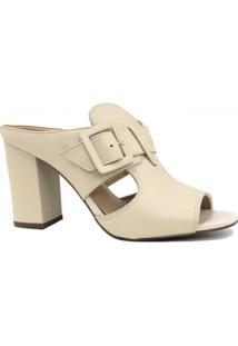 Tamanco Zariff Shoes Salto Grosso Recortes - Feminino-Bege