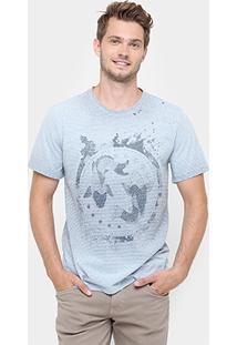 Camiseta Triton Gola Tinturada Listras Finas Carpas - Masculino
