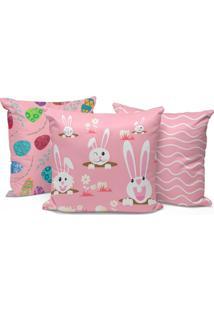 Kit 3 Capas Para Almofadas Happy Easter Cute Pink 35X35Cm