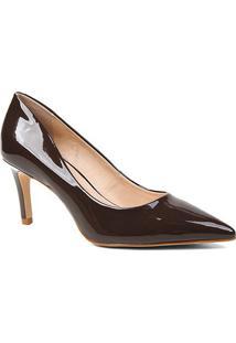 Scarpin Shoestock Verniz Salto Médio Naked - Feminino-Cacau