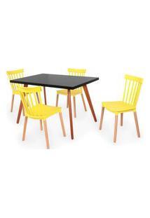 Conjunto Mesa De Jantar Gih 120X80Cm Preta Com 4 Cadeiras Windsor - Amarelo