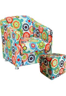 Poltrona Decorativa Para Sala Com Puff Laura Floral Laranja - Lyam Decor