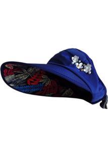 Chapéu Artestore Viseira Em Tecido Com Estampa - Feminino-Azul