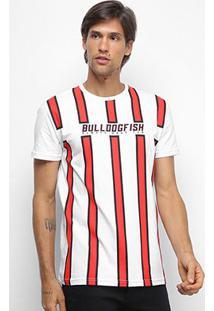 Camiseta Bulldog Fish University Listrada Masculina - Masculino-Branco