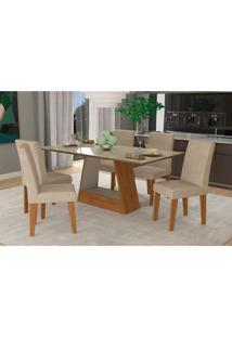 Conjunto De Mesa De Jantar Retangular Alana Com 6 Cadeiras Milena Suede Bege E Off White