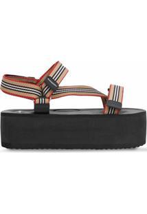 Burberry Sandália Com Plataforma E Listras Icônicas - Preto