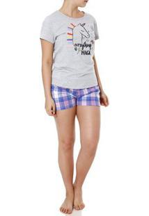 Pijama Curto Feminino Cinza/Lilás