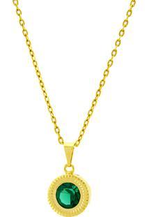 Gargantilha Horus Import Ponto Luz Eye Verde Esmeralda Banhada Ouro Amarelo 18 K - 1061131