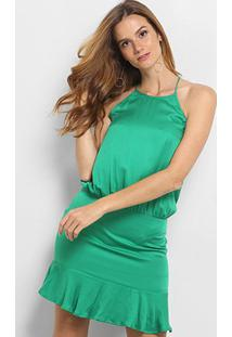 Vestido Triton Evasê Curto Com Babados Feminino - Feminino-Verde Claro