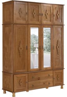 Guarda-Roupa Casal Com Espelho Colonial Ii 11 Pt Imbuia Acetinado