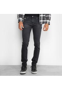 Calça Jeans Preston Classic Black Estonada Skinny Masculina - Masculino-Preto