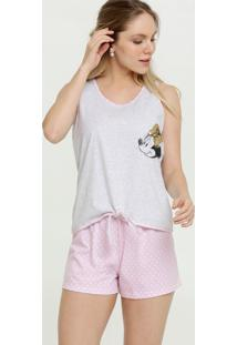 Pijama Feminino Estampa Minnie Sem Manga Disney