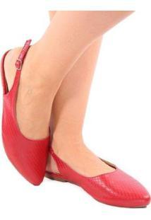 Sapatilha Zhaceci Chanel Feminina - Feminino-Vermelho