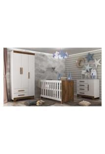 Guarda Roupa Infantil 3 Portas E 2 Gavetas Adoleta Branco/Nature Móveis Rodial