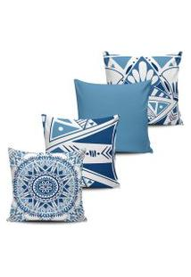 Kit 4 Capas Almofadas Mandala Asteca Azul Claro 45X45Cm