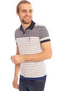 Camisa Polo Aleatory Listrada Andy Masculina - Masculino-Branco
