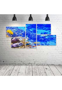 Quadro Decorativo - Underwater-World-Ocean-Fish-Coral-Reef- - Composto De 5 Quadros