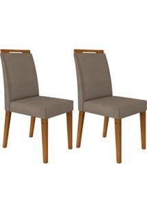Kit 2 Cadeiras Estofadas Para Sala De Jantar Alana N04 Vanilla/Ipê - M