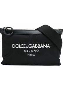 Dolce & Gabbana Pochete Com Logo Gravado - Preto