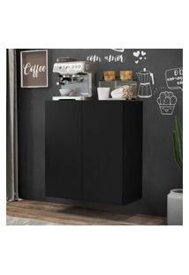 Aparador Cantinho Do Café Suspenso 2 Portas Multimóveis Preto