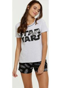 Pijama Feminino Estampa Star Wars Manga Curta Disney