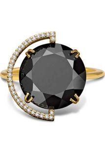 Anel Ouro Amarelo Quartzo Negro E Diamantes Maior