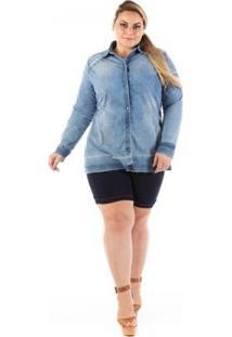 Camisa Jeans Slin Destroyed Plus Size Confidencial Extra Feminina - Feminino-Azul