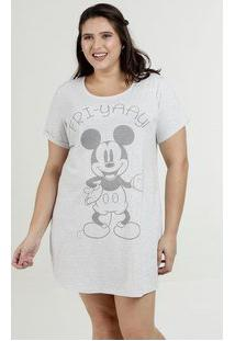 Camisola Feminina Estampa Mickey Plus Size Manga Curta Disney