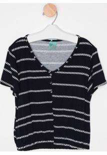 Blusa Abstrata Com Botões- Azul Marinho & Branca- Mamalwee