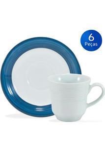 Conjunto 6 Xícaras De Café Com Pires Saturno Borda Azul - Schmidt - Branco / Azul