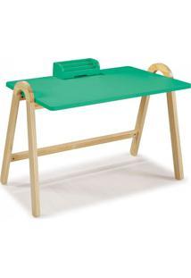 Escrivaninha Com Porta Objetos Ringo Maxima Natural/Verde Anis