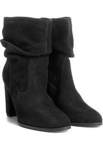 Bota Couro Cano Curto Shoestock Slouch Feminina - Feminino-Preto