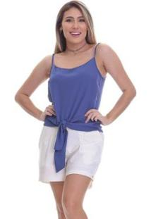 Blusa Clara Arruda Nó Frontal Feminina - Feminino-Azul