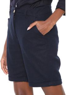 Bermuda Linho Hering Chino Lisa Azul-Marinho