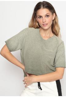 Blusa Cropped Em Moletinho - Verde Militarcalvin Klein