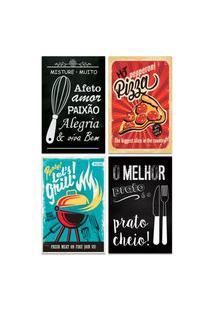 Kit 4 Placas Decorativas Frases Cozinha Lanches Churrasco