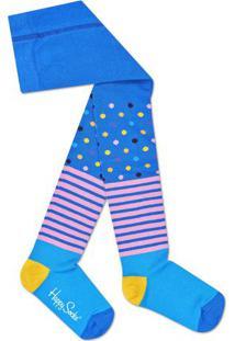 Meia Calça Poá & Listras- Azul & Rosahappy Socks
