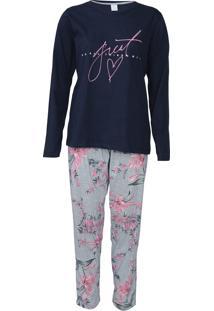 Pijama Pzama Floral Azul-Marinho