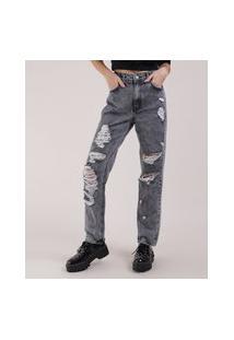 Calça Jeans Feminina Mom Destroyed Cintura Super Alta Preta