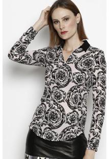 0287f0ffd0 ... Camisa Arabescos Em Seda - Rosa Claro   Pretaversace