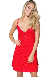 Camisola Click Chique Sem Bojo Em Liganete Estampada Com Detalhes Em Renda Vermelho