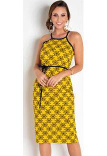 Vestido Com Cordão Grátis Amarelo Para Amarrar