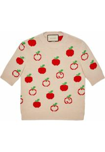 Gucci Blusa Gg Apple De Lã - Neutro