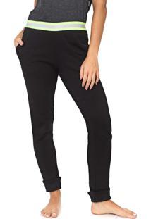 Calça Moletom Calvin Klein Underwear Jogger Neon Logo Preta/Verde