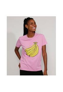 "T-Shirt Feminina Mindset Going Bananas"" Manga Curta Decote Redondo Rosa"""