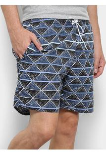 Bermuda Tribo Santa Estampa Geométrica Masculina - Masculino-Azul