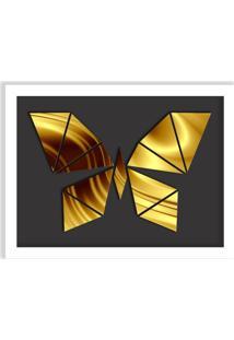 Quadro Decorativo Em Relevo Espelhado Borboleta Dourada Branco - Grande