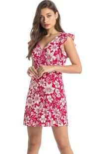 Vestido Vermelho Floral Com Babado