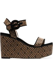 Jimmy Choo Nude Abigail 100 Woven Wedge Leather Sandals - Preto