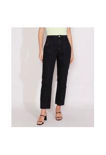 Calça Jeans Feminina Reta Cintura Super Alta Com Recorte Preta